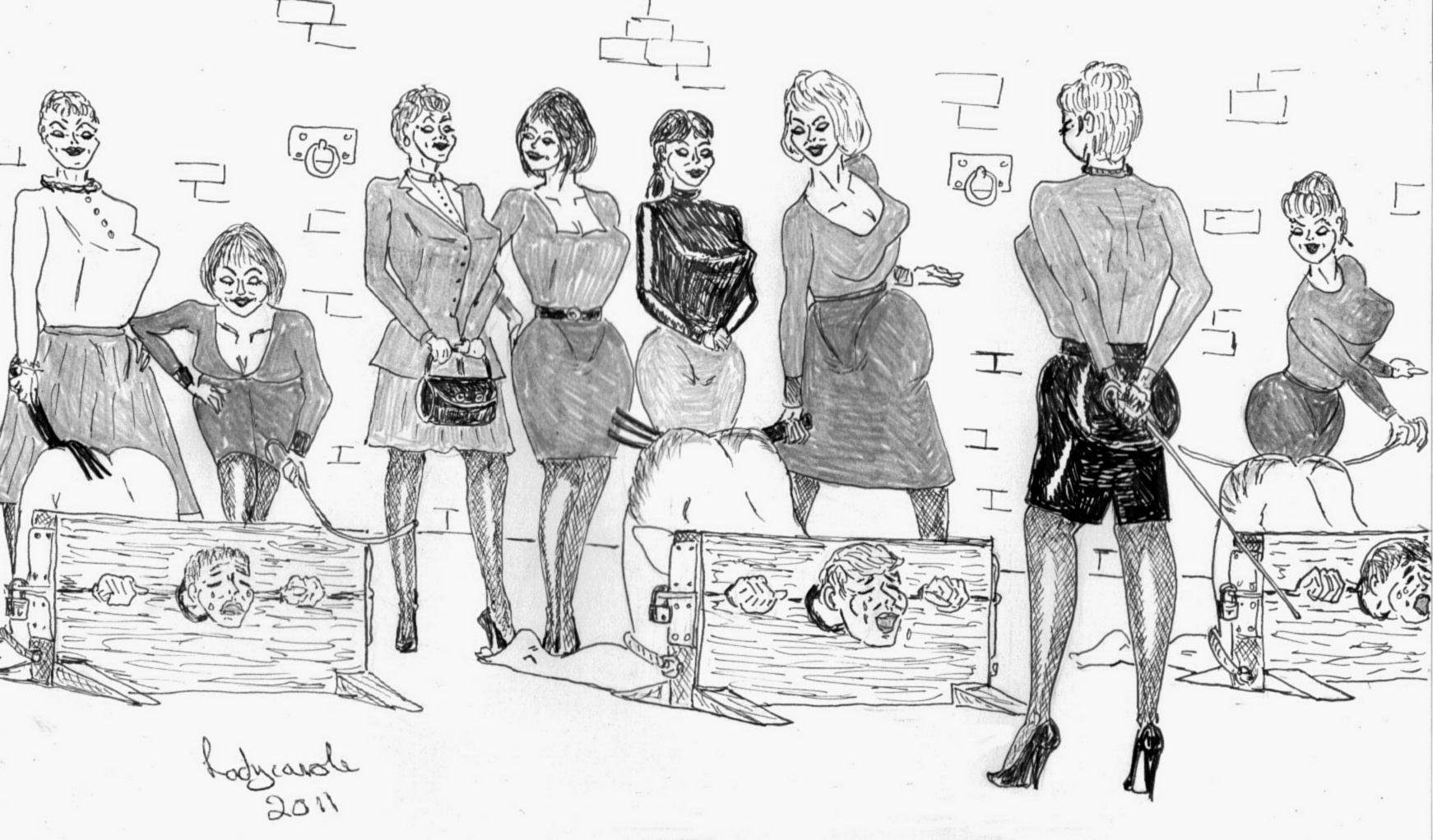 domination cartoons drawings Female and